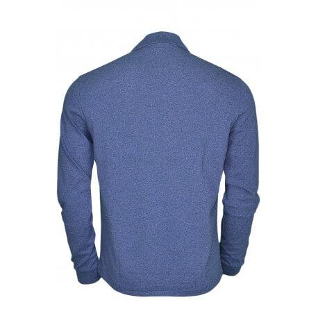 Polo manches longues Lacoste bleu marine chiné pour homme