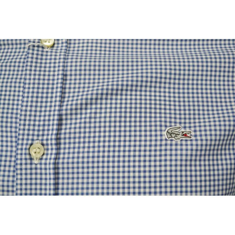 chemise vichy lacoste bleu pour homme toujours au meilleur prix. Black Bedroom Furniture Sets. Home Design Ideas