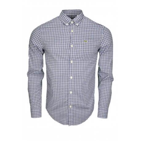 Chemise à carreaux Lacoste bleu marine et blanc pour homme