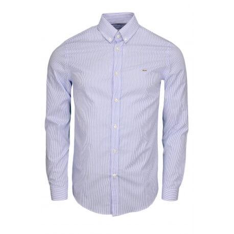 Chemise rayée Lacoste bleu et blanc pour homme