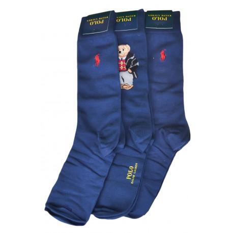 Lot de 3 paires de chaussettes Ralph Lauren bleu marine pour homme