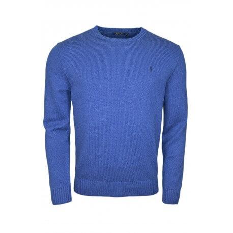 Pull col rond en coton Ralph Lauren bleu pour homme