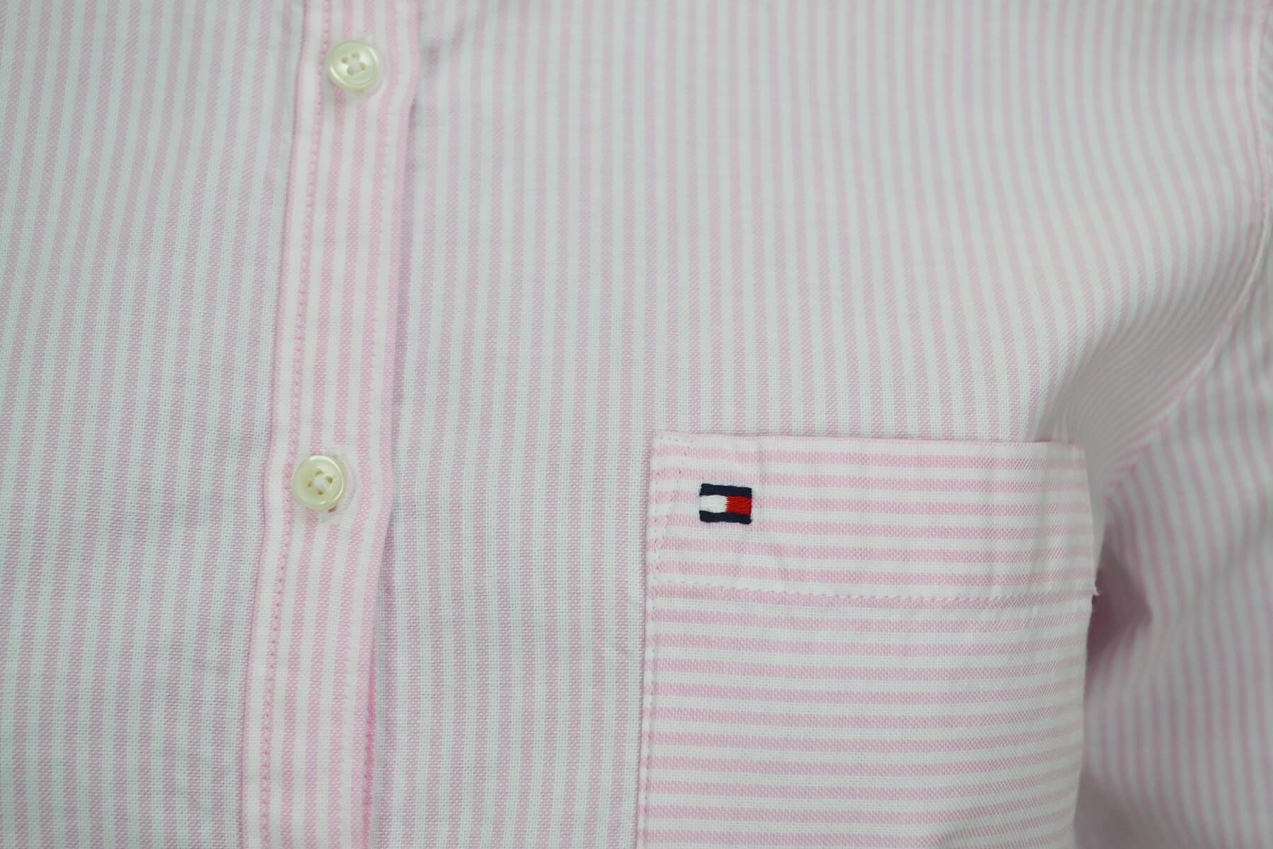 styles divers coupon de réduction célèbre marque de designer Chemise rayée oxford Tommy Hilfiger Sithaca rose et blanche pour fe...