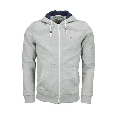 Veste zippée à capuche Tommy Hilfiger grise pour homme