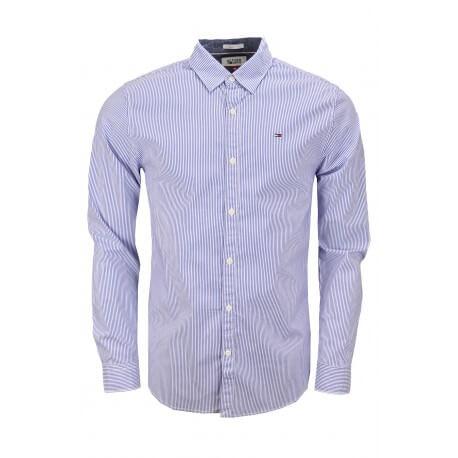 Chemise rayée Tommy Hilfiger bleu et blanche pour homme