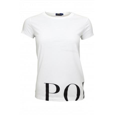 T-shirt col rond Ralph Lauren blanc graphic pour femme
