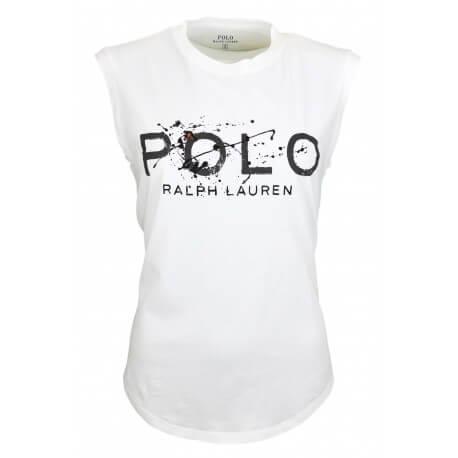 T-shirt sans manches Ralph Lauren blanc pour femme