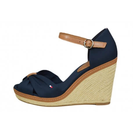 espadrilles compens es tommy hilfiger elena bleu marine pour femme. Black Bedroom Furniture Sets. Home Design Ideas