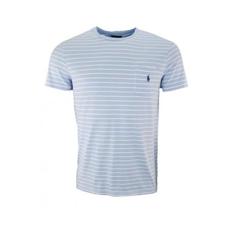 T-shirt col rond Ralph Lauren rayé bleu ciel et blanc pour homme