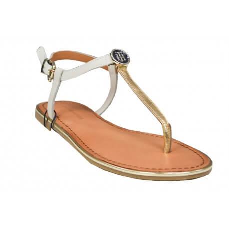 Sandales en cuir Tommy Hilfiger Julia blanche et dorée pour femme