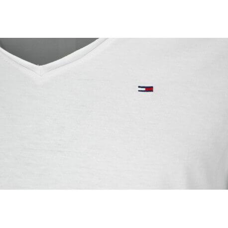 T-shirt col V Tommy Hilfiger basique blanc pour homme
