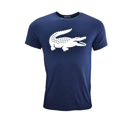 T-shirt col rond bleu marine sport croco pour homme