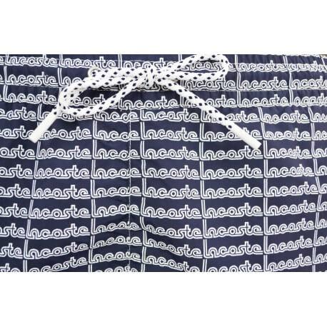 Short de bain Lacoste bleu marine imprimé lettrage pour homme