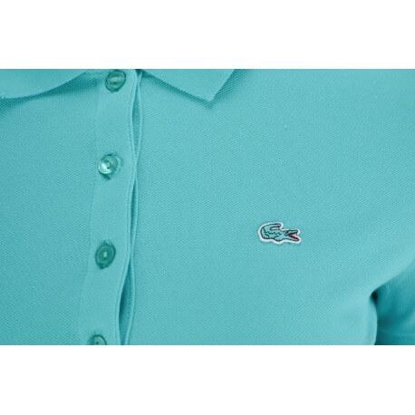 Polo basique Lacoste vert d'eau en piqué pour femme