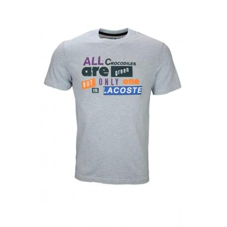 T-shirt col rond Lacoste gris lettrage pour homme