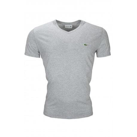 T-shirt col V Lacoste gris en jersey pour homme