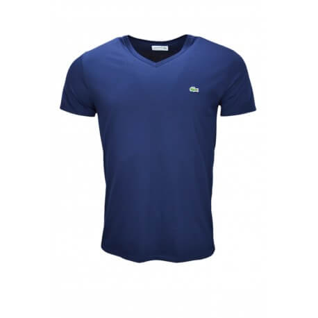 T-shirt col V Lacoste bleu marine pour homme