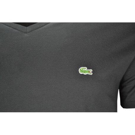 T-shirt col V Lacoste noir pour homme