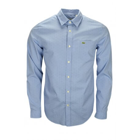 Chemise Lacoste bleue à motif ton sur ton pour homme