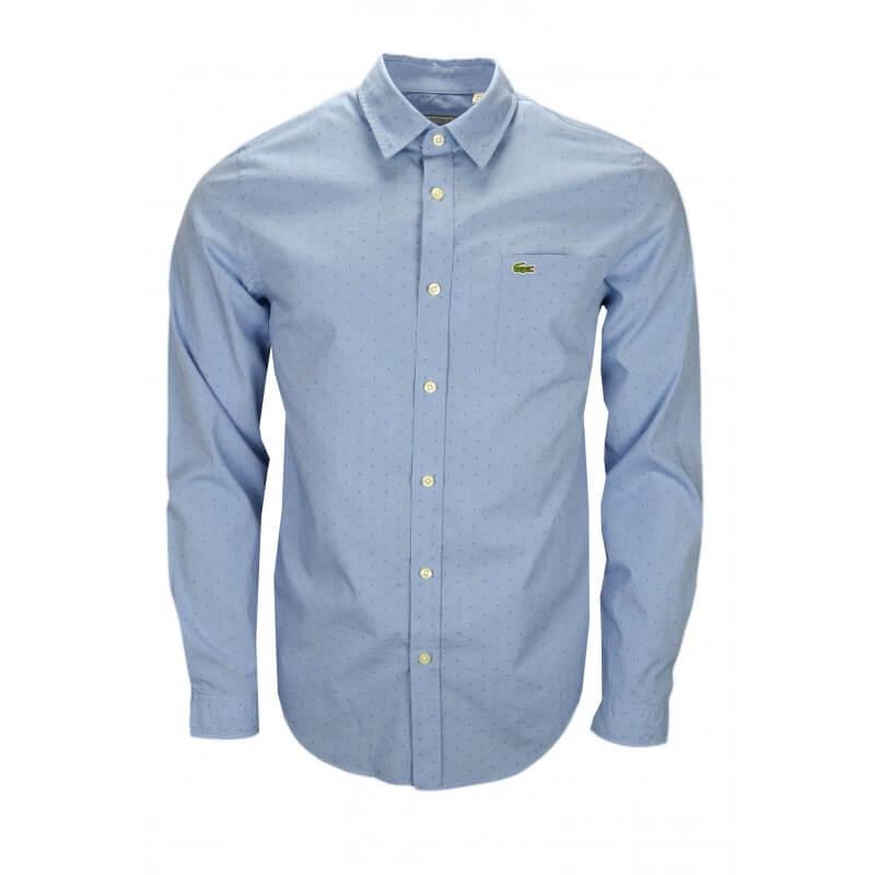 chemise lacoste bleue motif ton sur ton pour homme toujours au. Black Bedroom Furniture Sets. Home Design Ideas