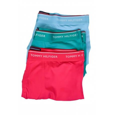 Lot boxers x3 Tommy Hilifiger rose vert et bleu pour homme