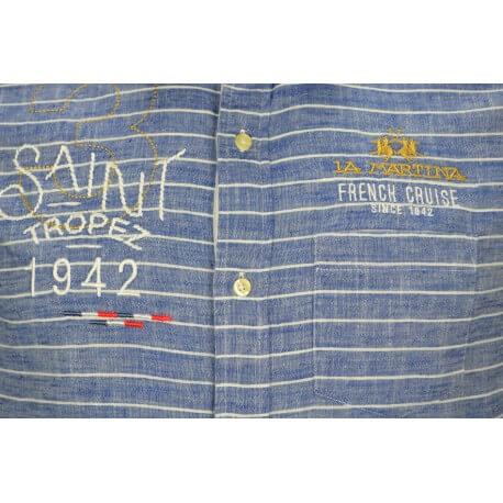 Chemise en lin La Martina rayée bleue pour homme