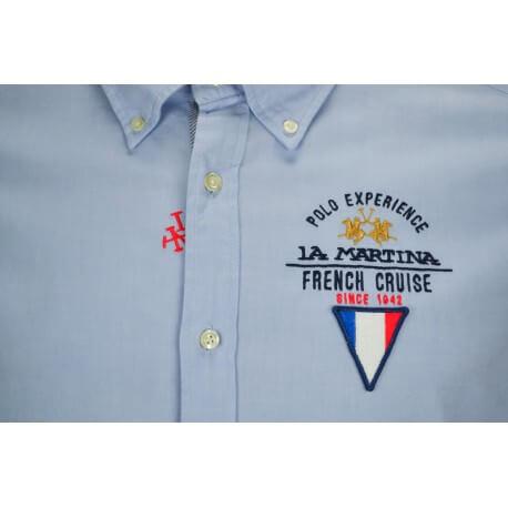 Chemise La Martine French Cruise bleue pour homme