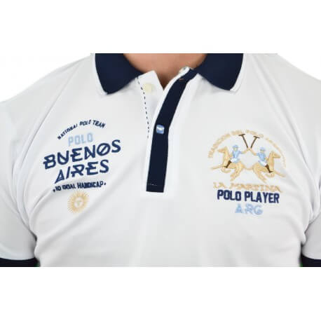 Polo La Martina Buenos Aires blanc pour homme