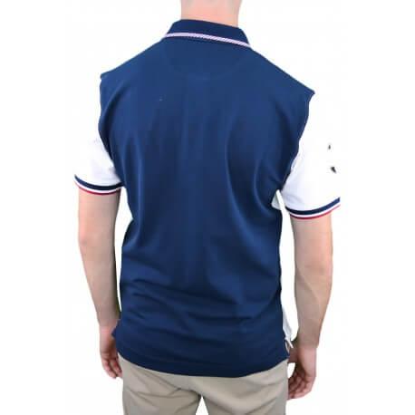 Polo La Martina Varsity bleu marine et blanc pour homme