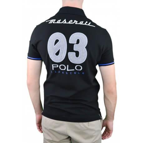 Polo La Martina Maserati noir pour homme