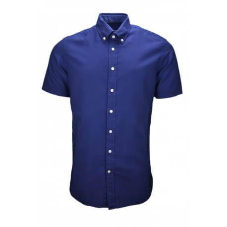 Chemise manches courte Hackett bleu marine classic fit pour homme