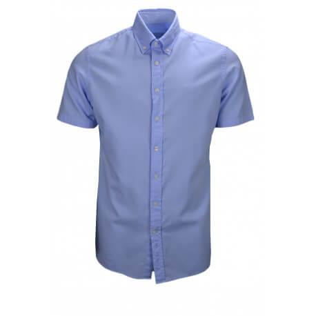 Chemise manches courtes Hackett bleu ciel classic fit pour homme