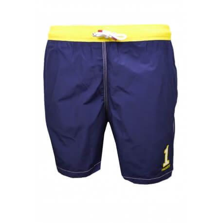 Short de bain Hackett One bleu marine et jaune pour homme