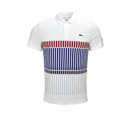 Polo Lacoste Novak Djokovic blanc pour homme