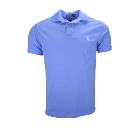 Polo 2 boutons Ralph Lauren bleu ciel custom fit pour homme
