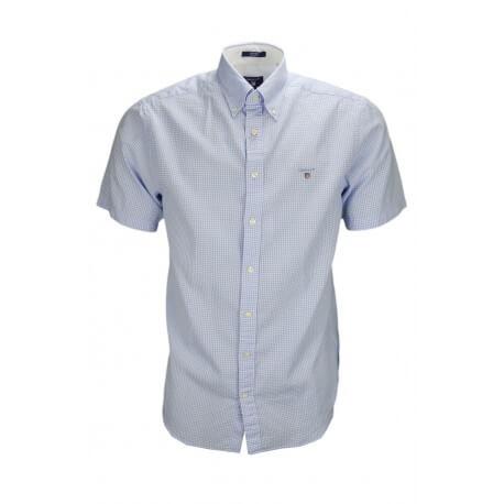 Chemise manches courtes Gant Tech Prep à carreaux bleu pour homme