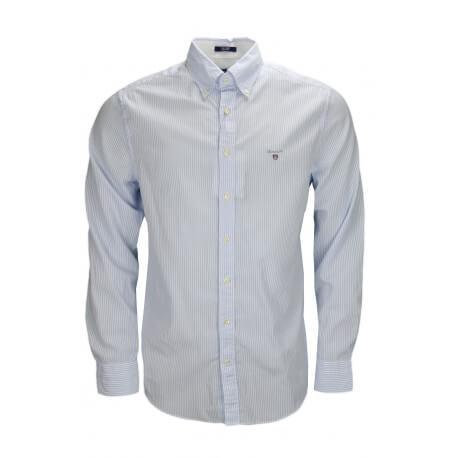 Chemises Gant rayée bleu et blanche pour homme