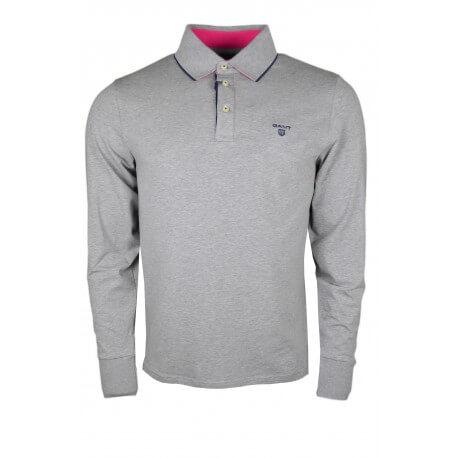 Polo manches longues Gant en jersey gris pour homme