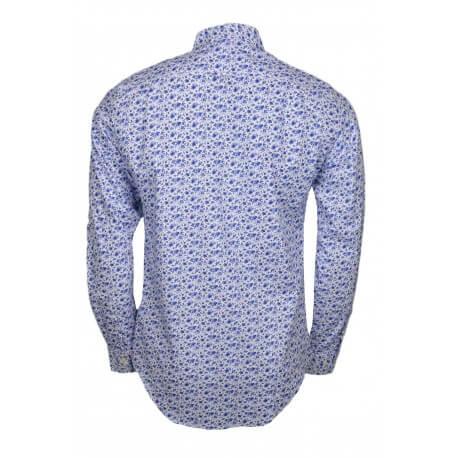 Chemise Gant imprimé floral blanche et bleu pour homme