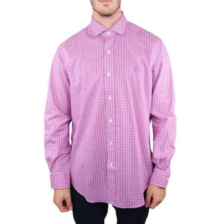 Chemise Ralph Lauren à carreaux rose et bleu pour homme