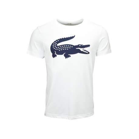 T-shirt col rond Lacoste sport crocodile blanc pour homme
