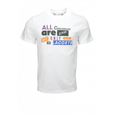 T-shirt col rond Lacoste Lettrage blanc pour homme