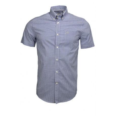 Chemise manches courtes Lacoste à carreaux régular fit bleu pour homme