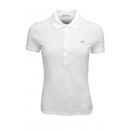 Polo Lacoste basique 5 boutons blanc pour femme