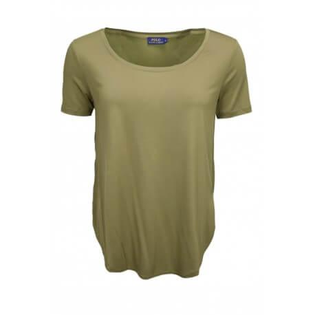 T-shirt col rond dégagé Ralph Lauren vert kaki pour femme