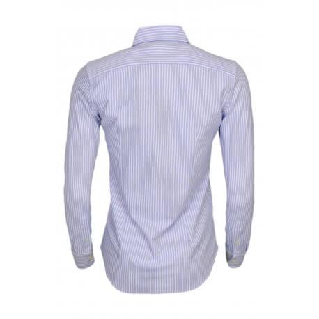 Chemise polo rayée Ralph Lauren en coton piqué bleu et blanche pour femme