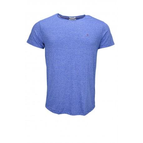 T-shirt col rond Tommy Hilfiger Dénim bleu chiné pour homme