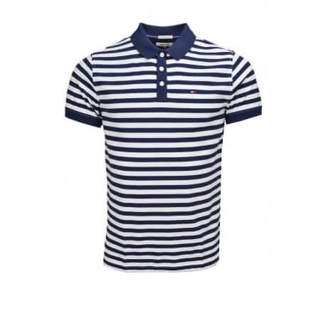Polo Tommy Hilfiger Dénim rayé bleu marine et blanc pour homme