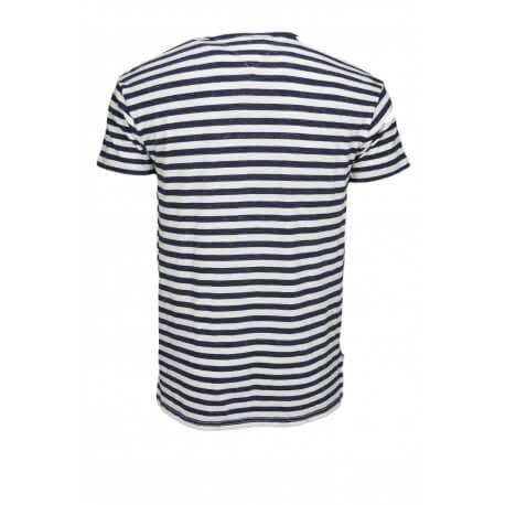 T-shirt Tommy Hilfiger Dénim rayé bleu marine et blanc pour homme