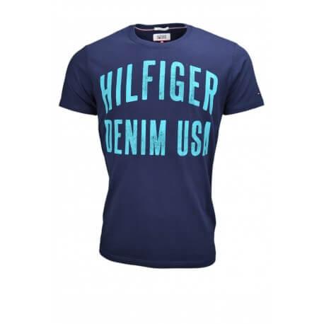 T-shirt col rond Tommy Hilfiger Dénim Inscription bleu marine pour homme